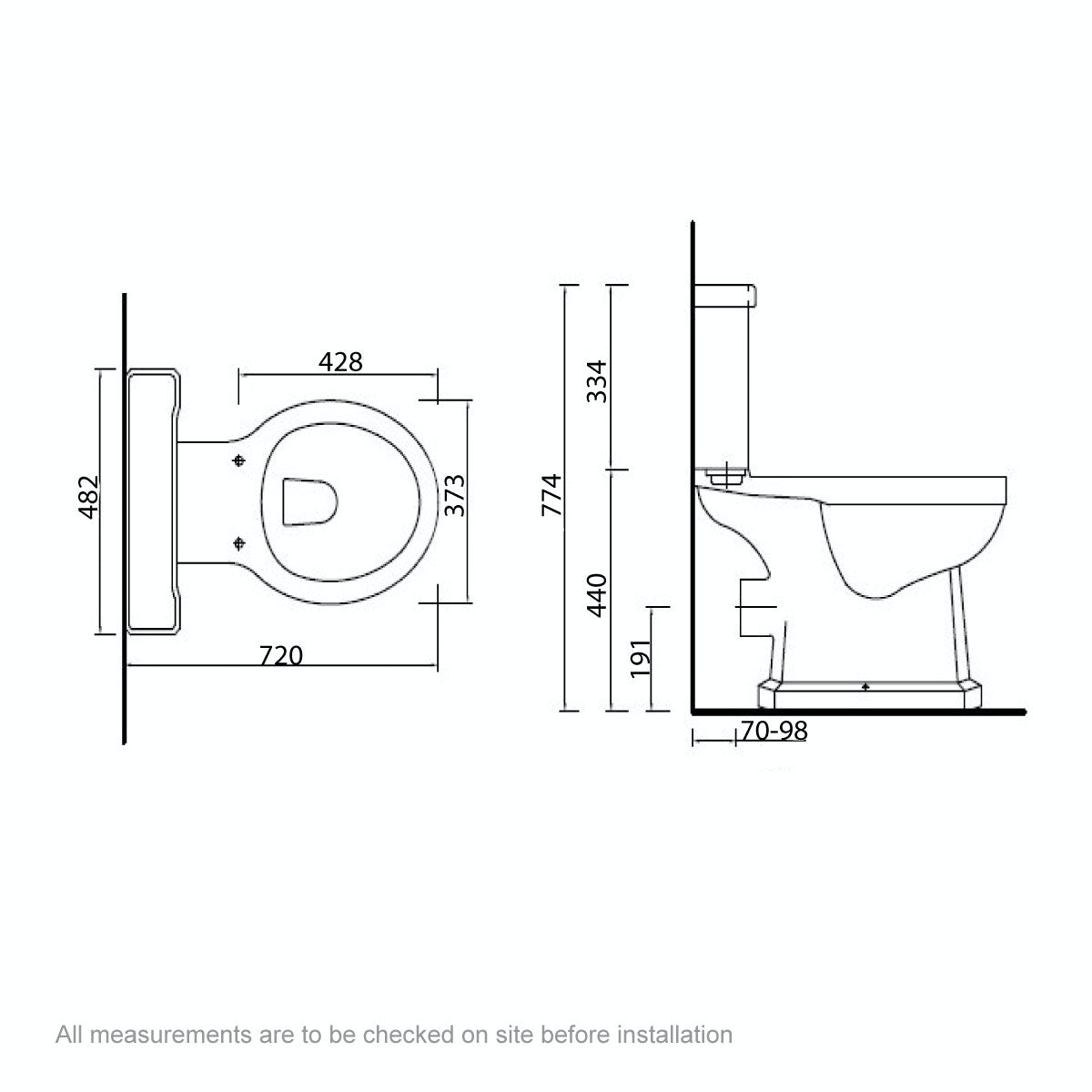 Dimensions for The Bath Co. Camberley close coupled toilet with wooden soft close seat oak effect