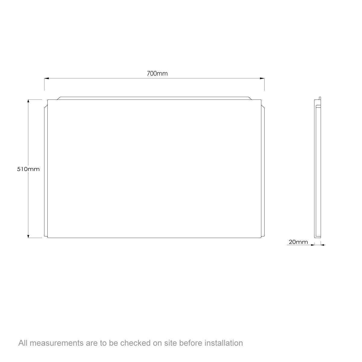Dimensions for Orchard P shaped shower bath acrylic end panel 700mm
