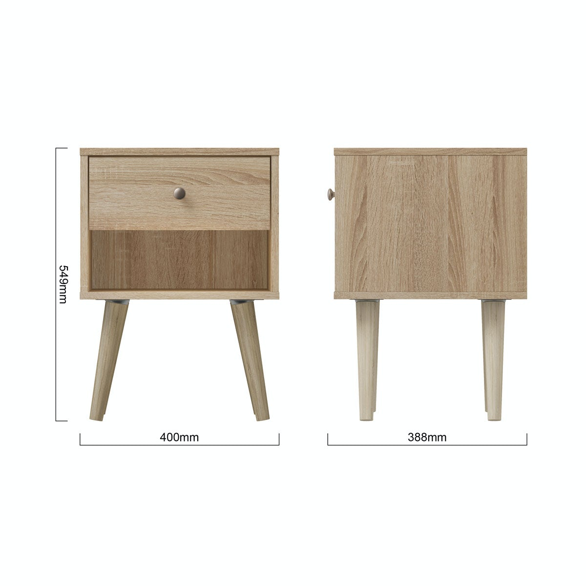 Dimensions for MFI Helsinki Oak bedside