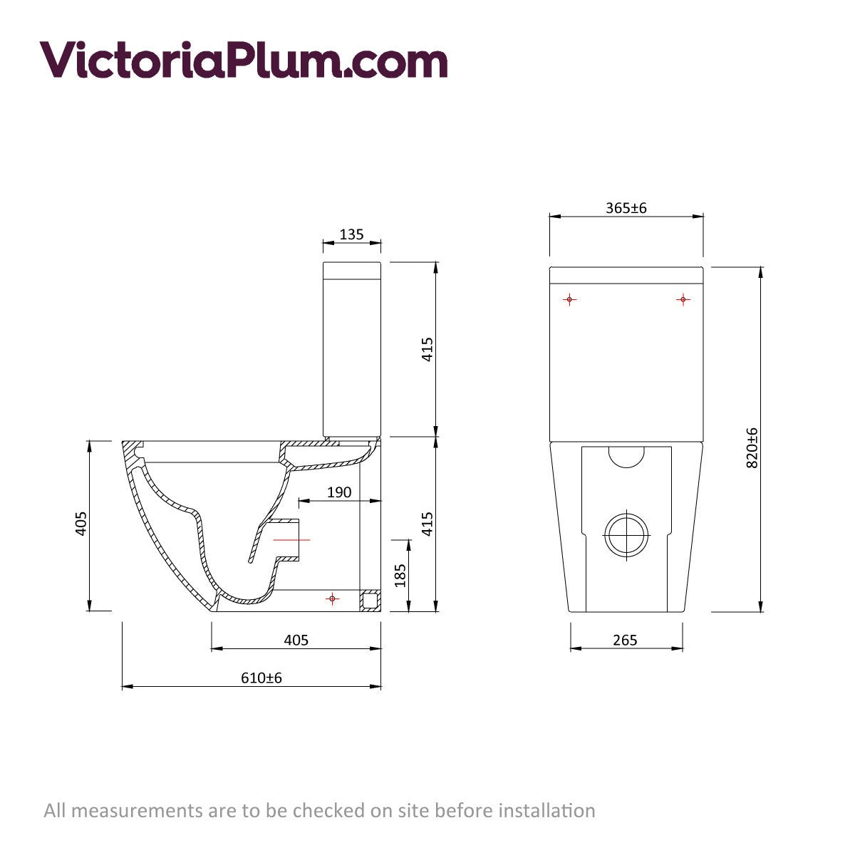 Dimensions for Mode Harrison rimless close coupled toilet with slimline soft close seat