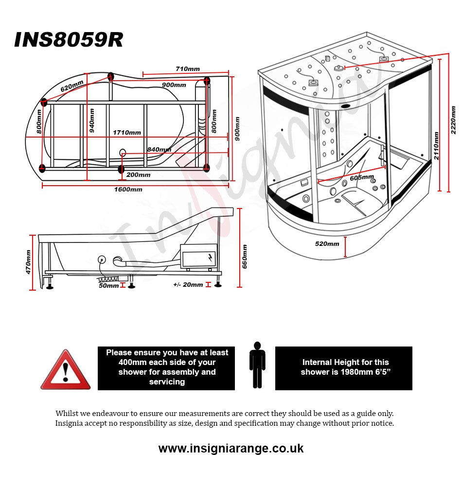Dimensions for Insignia right handed offset quadrant steam shower bath cabin 1700 x 900