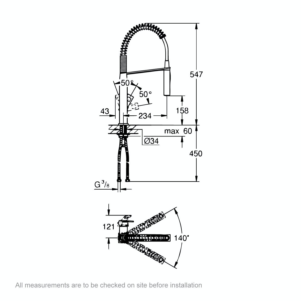 Dimensions for Grohe Eurocube Profi-spray kitchen tap with pull down spout