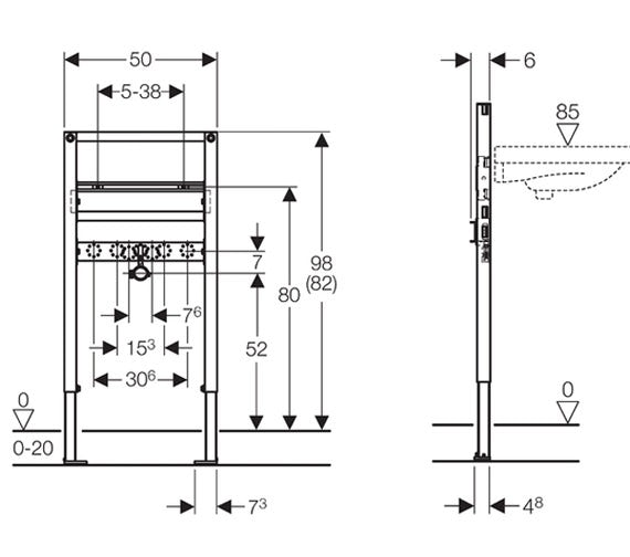 Dimensions for Geberit Duofix 0.98-0.82m basin frame