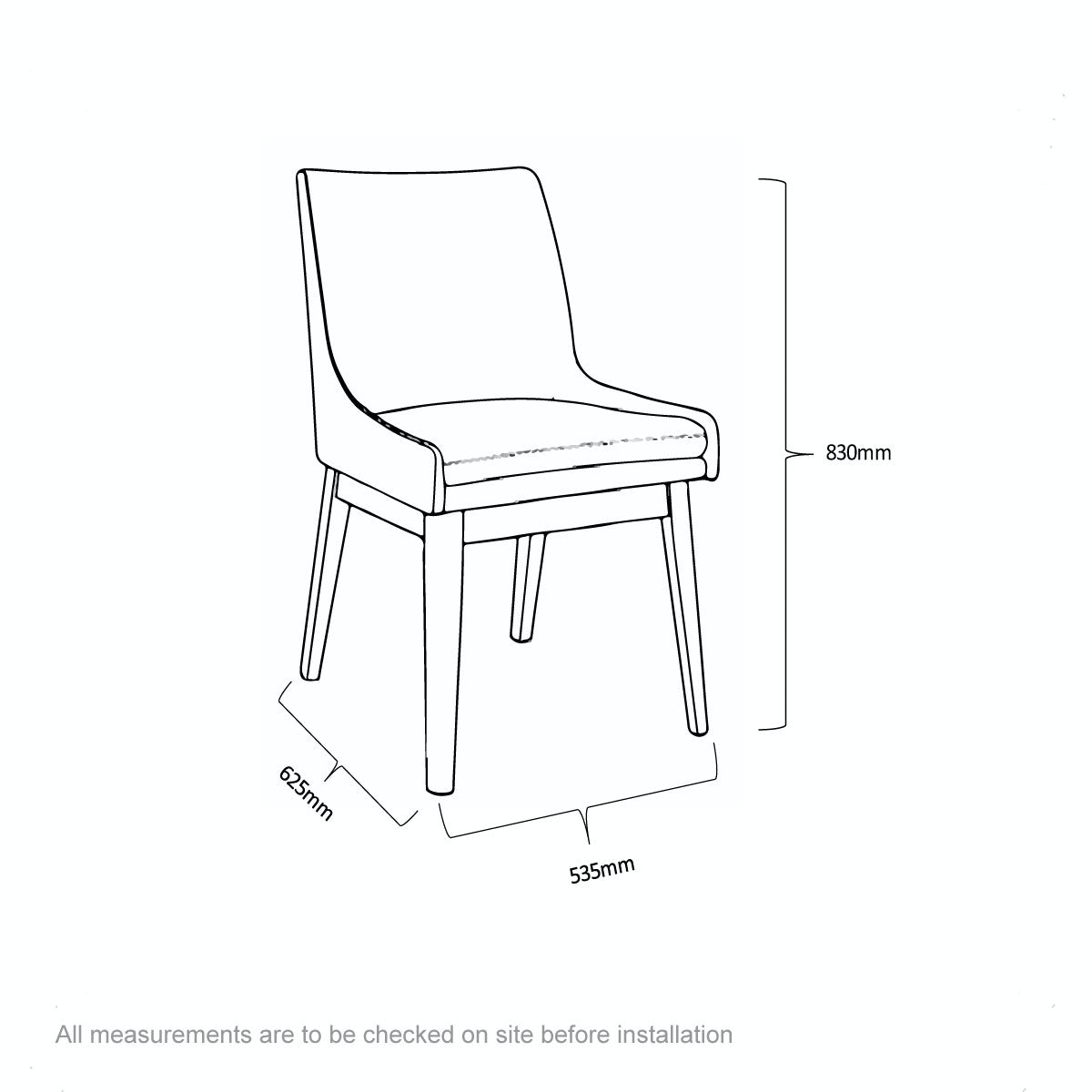 Dimensions for Lincoln oak and beige pair of dining chairs