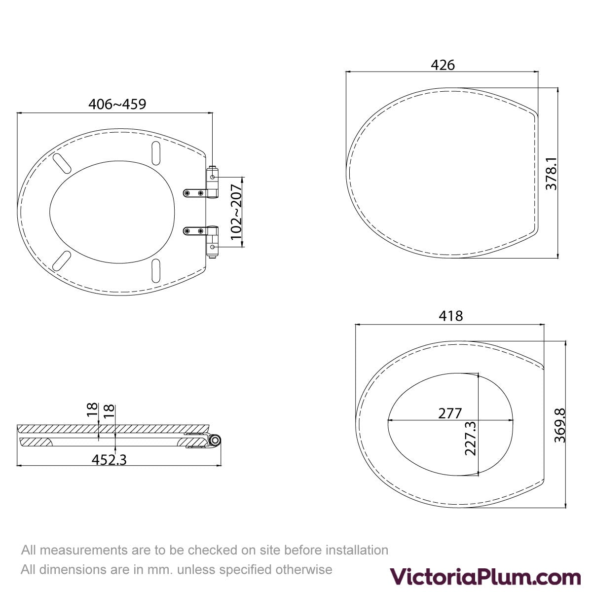 Dimensions for The Bath Co. red oak wood top fixing soft close seat