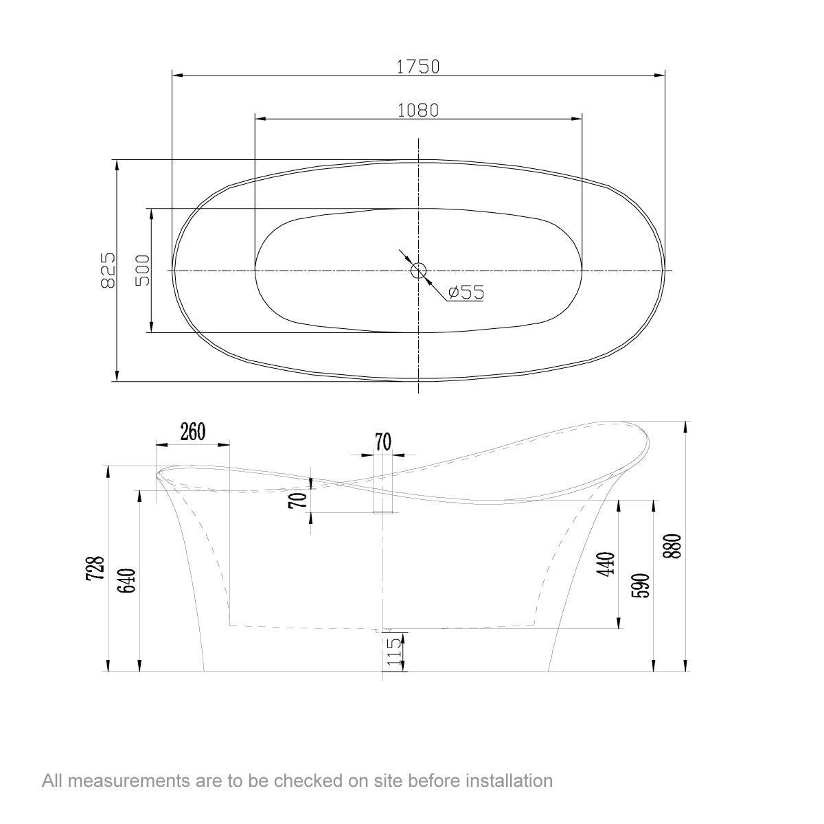 Dimensions for Belle de Louvain Fontana bath 1750 x 825