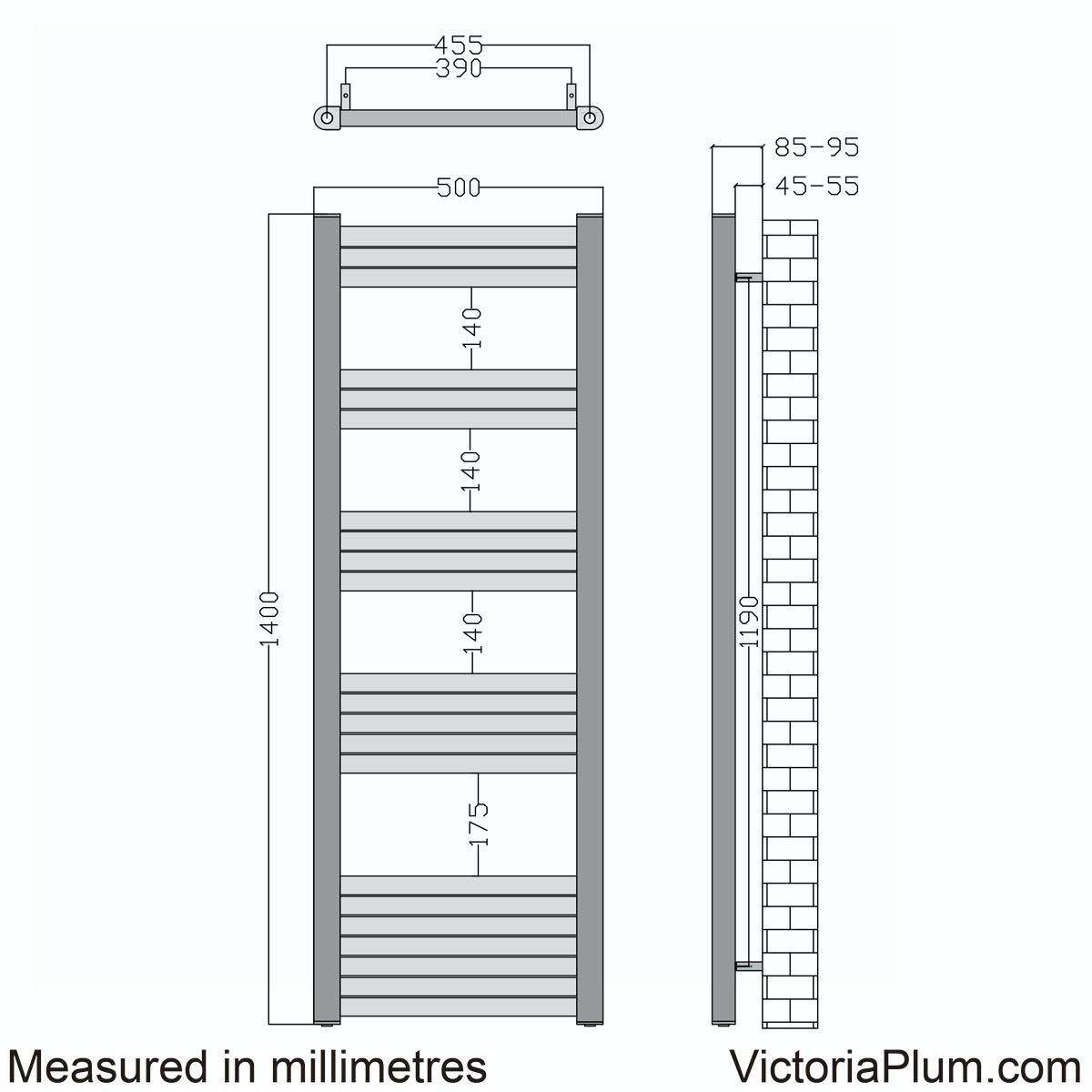 Dimensions for Mode Carter charcoal black heated towel rail 1400 x 500