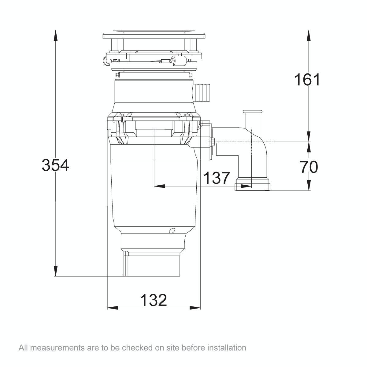 Dimensions for Bone Crusher Builder 500 kitchen sink waste disposal unit