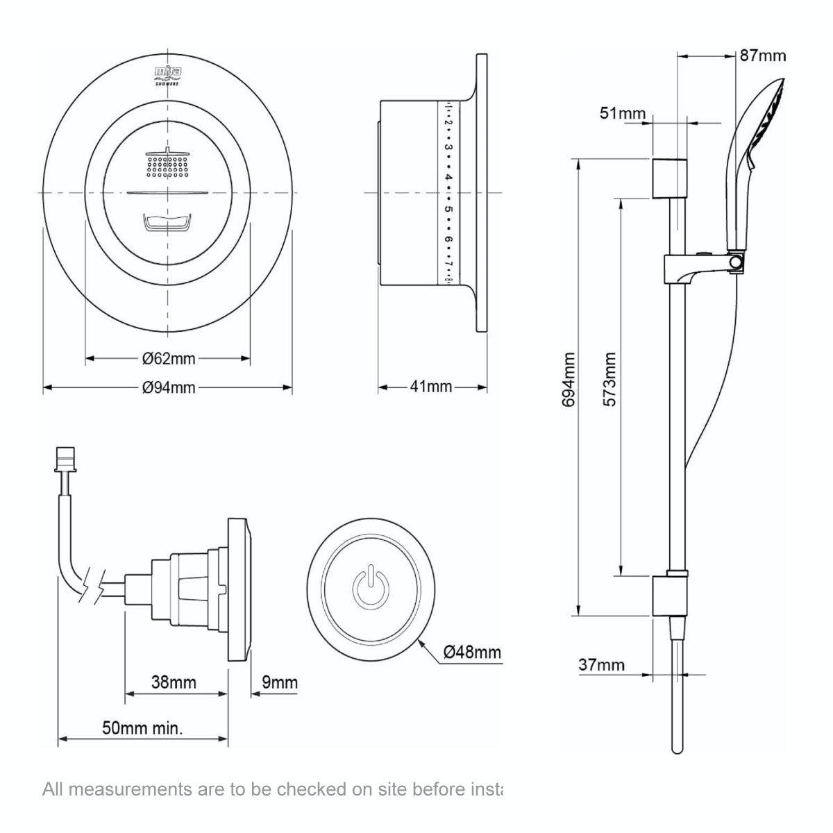 Dimensions for Mira Mode rear fed digital shower standard