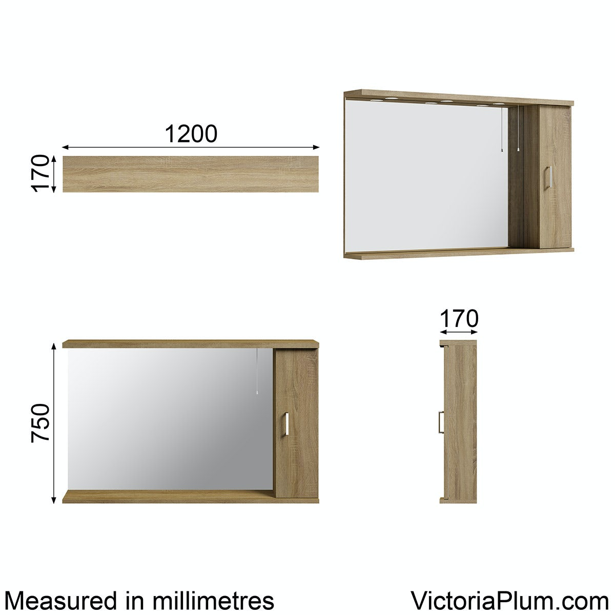 Dimensions for Orchard Eden oak illuminated mirror 1200mm