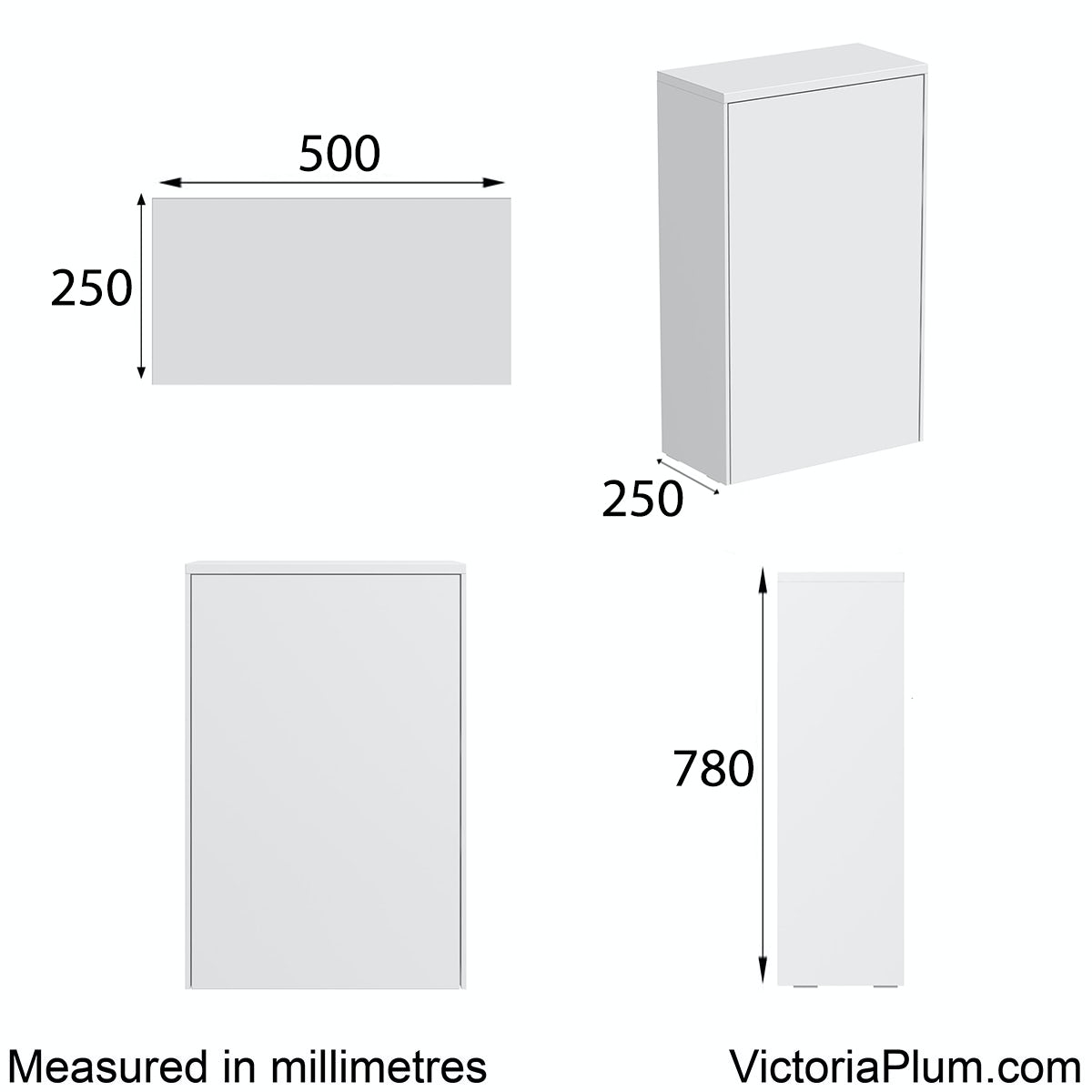 Dimensions for Mode Austin white back to wall toilet unit