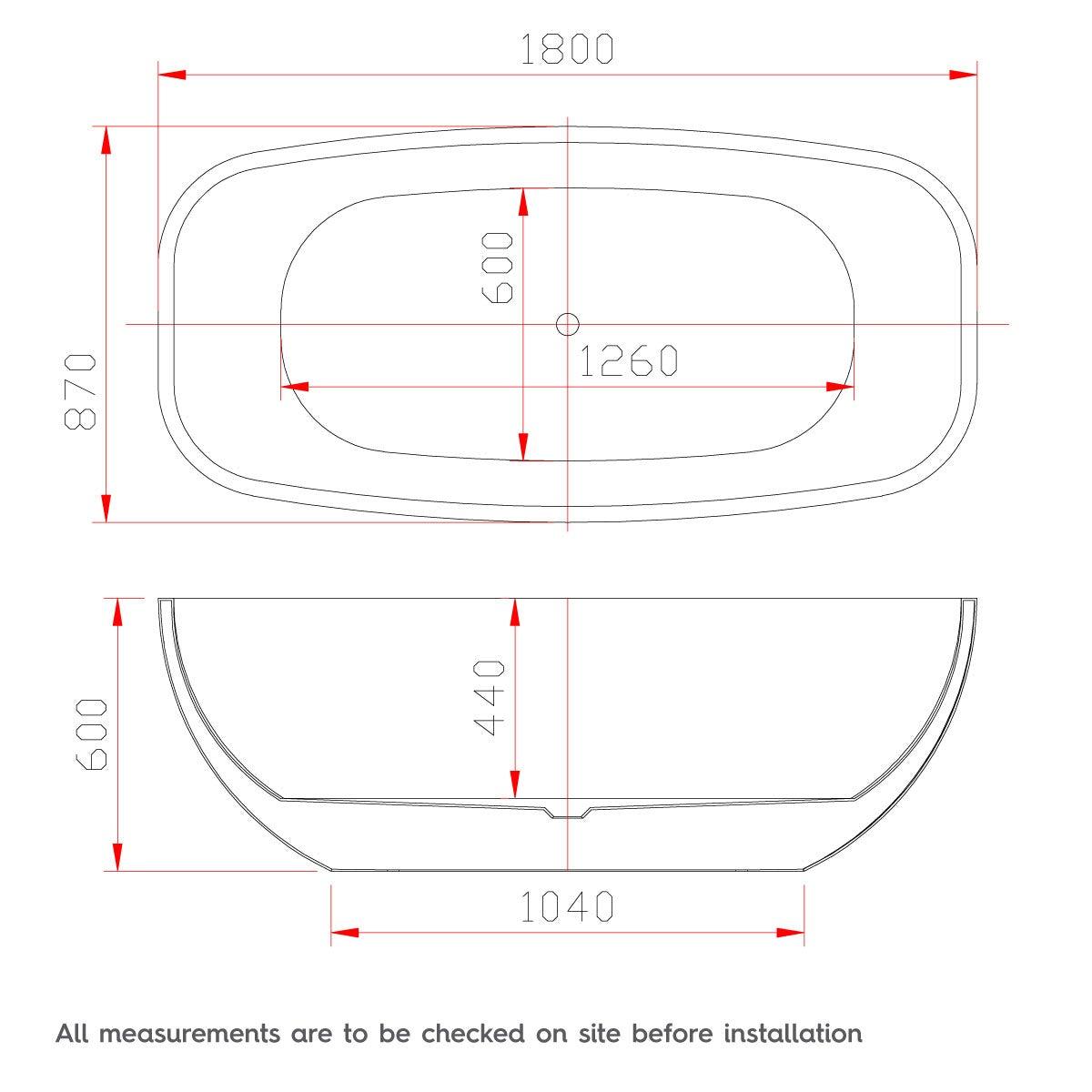 Dimensions for Mode Ellis freestanding bath 1800 x 870
