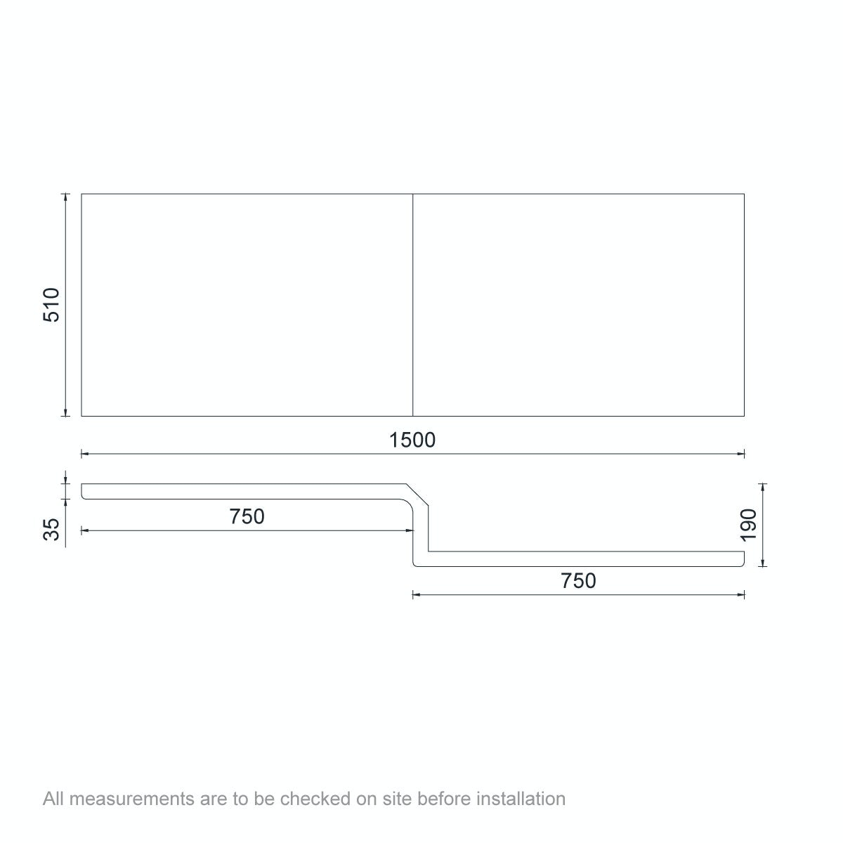 Dimensions for Orchard L shaped shower bath acrylic front panel 1500mm
