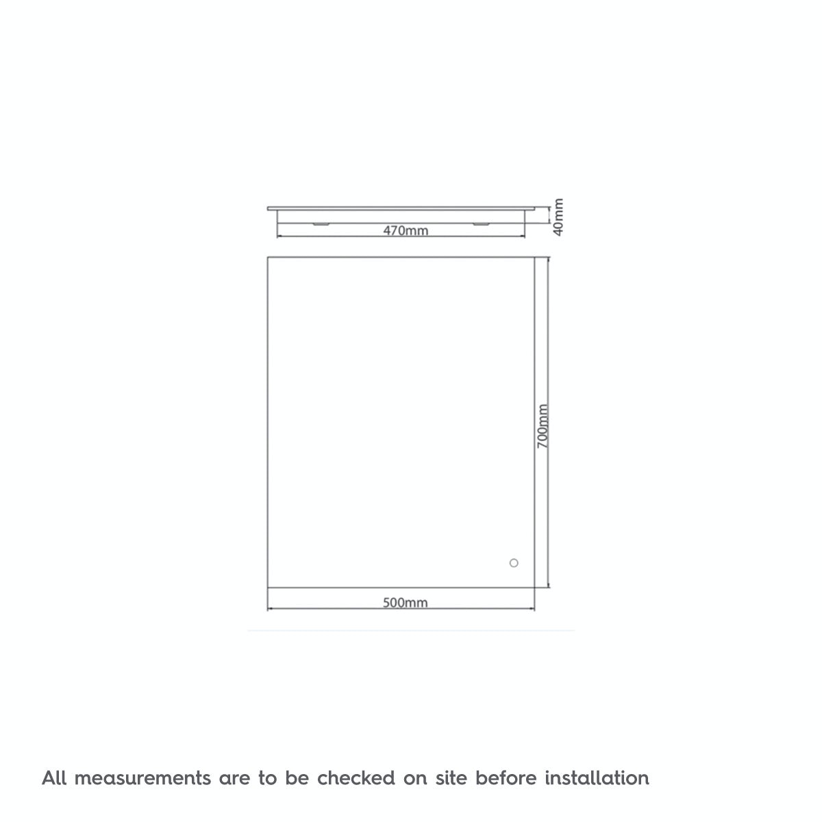 Dimensions for Mode Lumina variable white backlit mirror