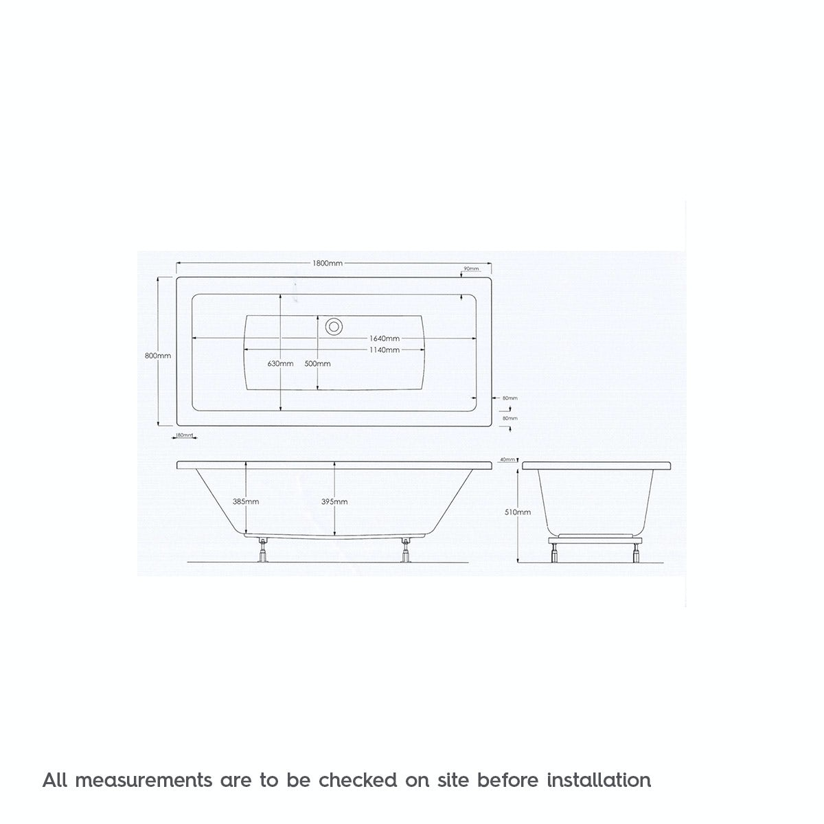 Dimensions for Mode Chelsea double end 6 jet whirlpool bath 1800 x 800