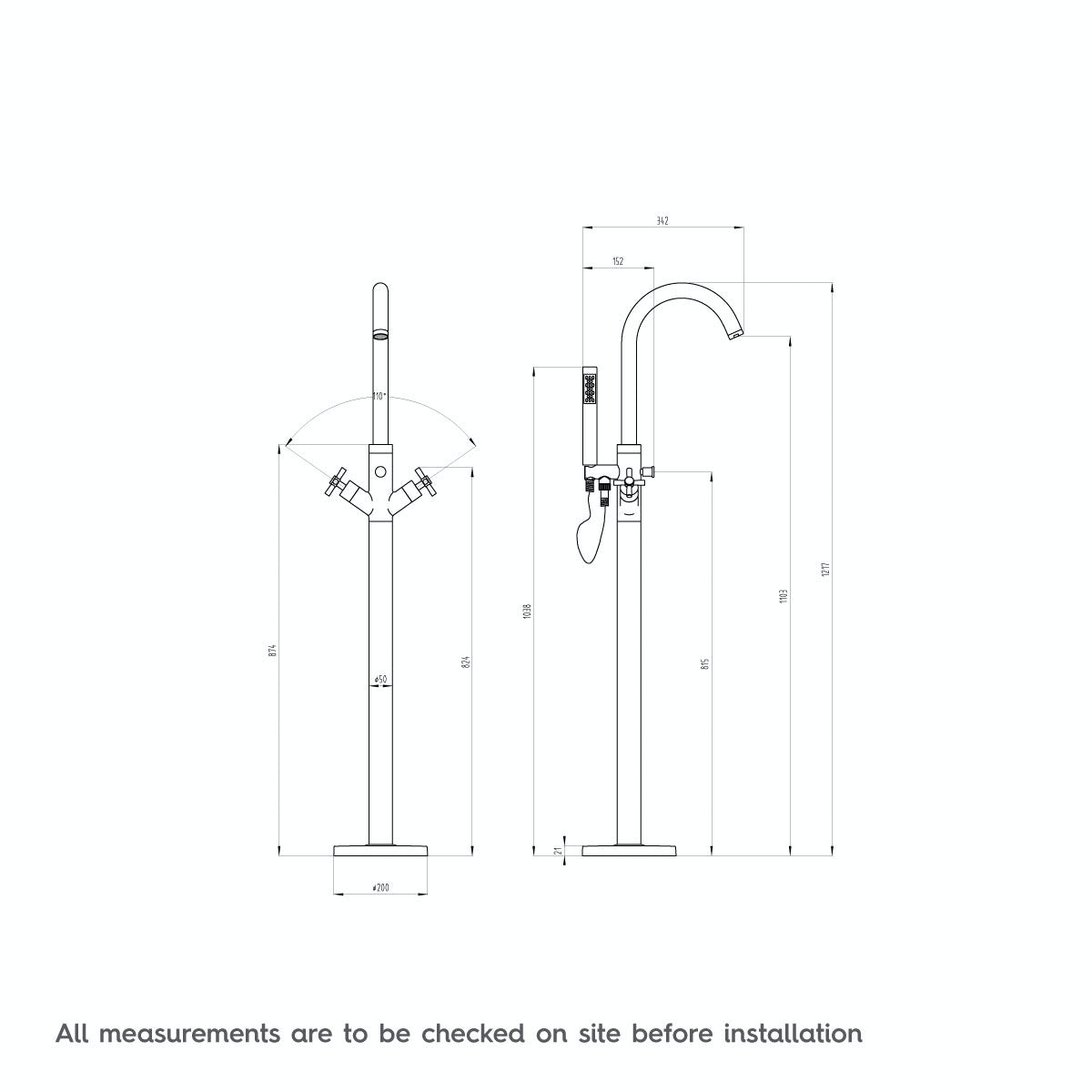 Dimensions for Mode Tate freestanding bath filler tap