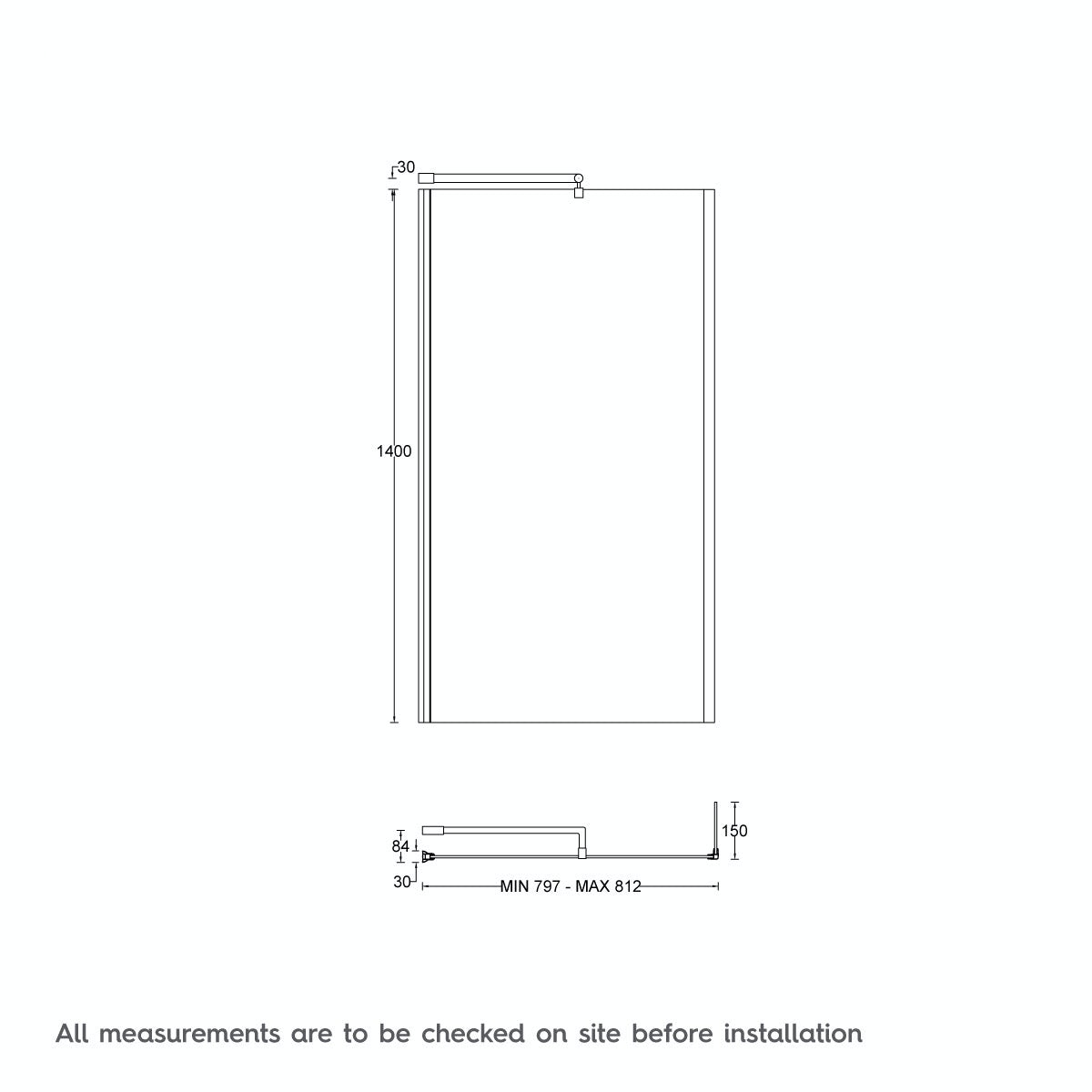 Dimensions for L shaped left handed 12 jet whirlpool shower bath with front panel and screen