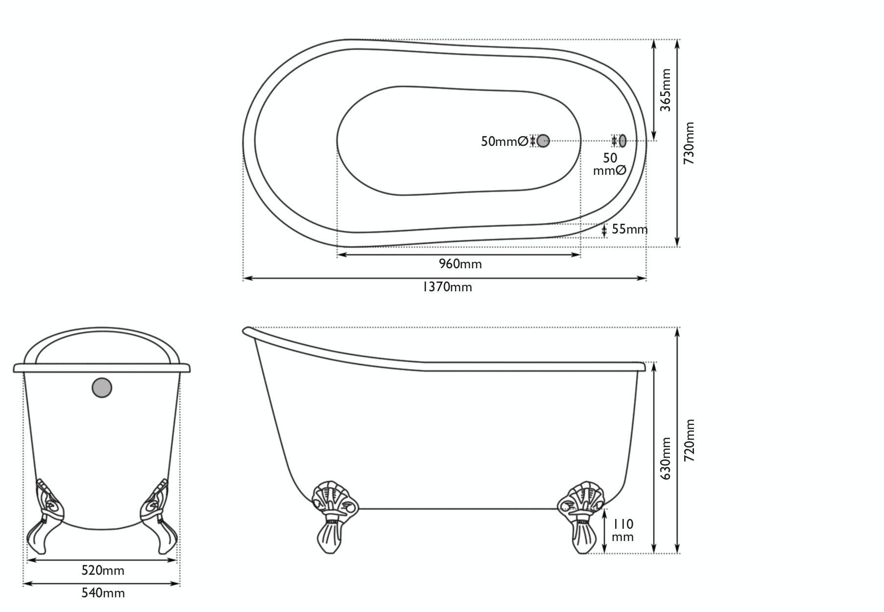 Dimensions for The Bath Co. Berkeley smoke grey cast iron bath