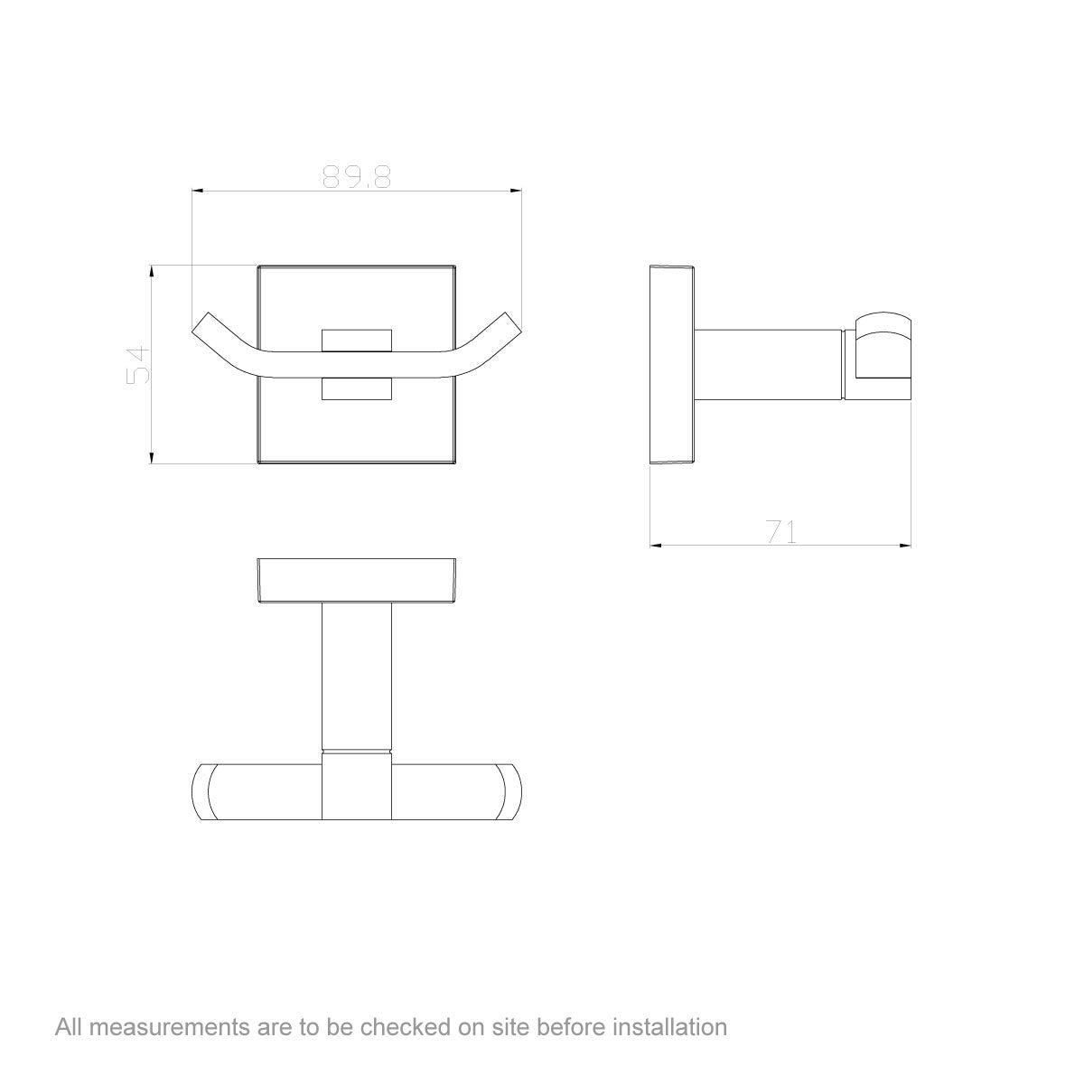 Dimensions for Orchard Flex robe hook