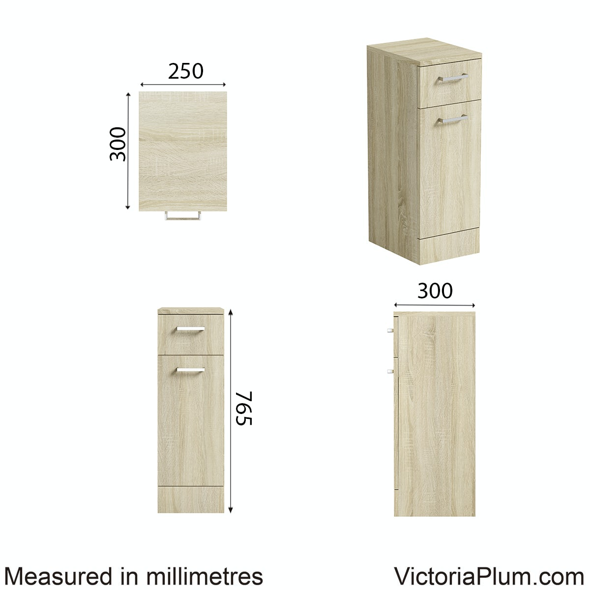 Dimensions for Orchard Eden oak linen basket unit 300mm