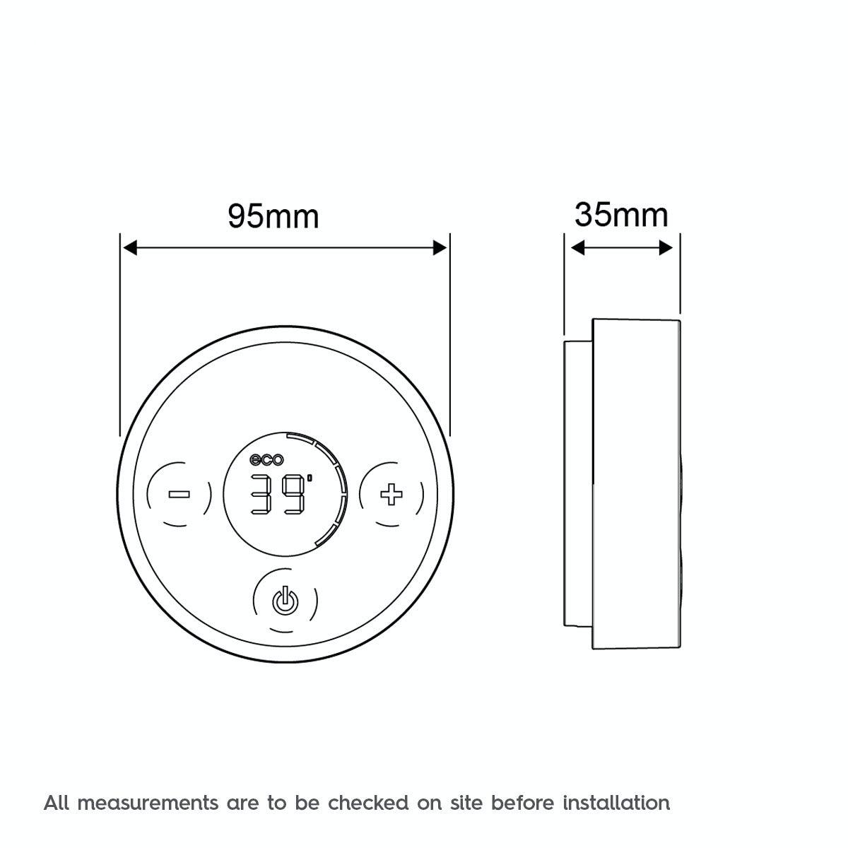 Dimensions for Mira Platinum single wireless digital shower controller