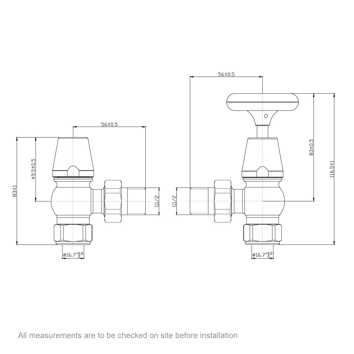 Dimensions for The Bath Co. Traditional angled radiator valves with brown handle