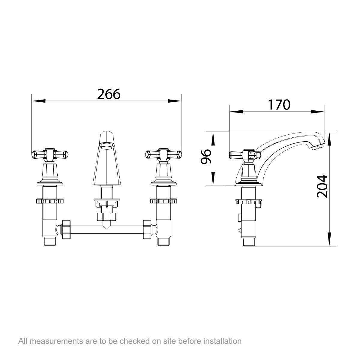 Dimensions for The Bath Co. Beaumont 3 hole basin mixer tap