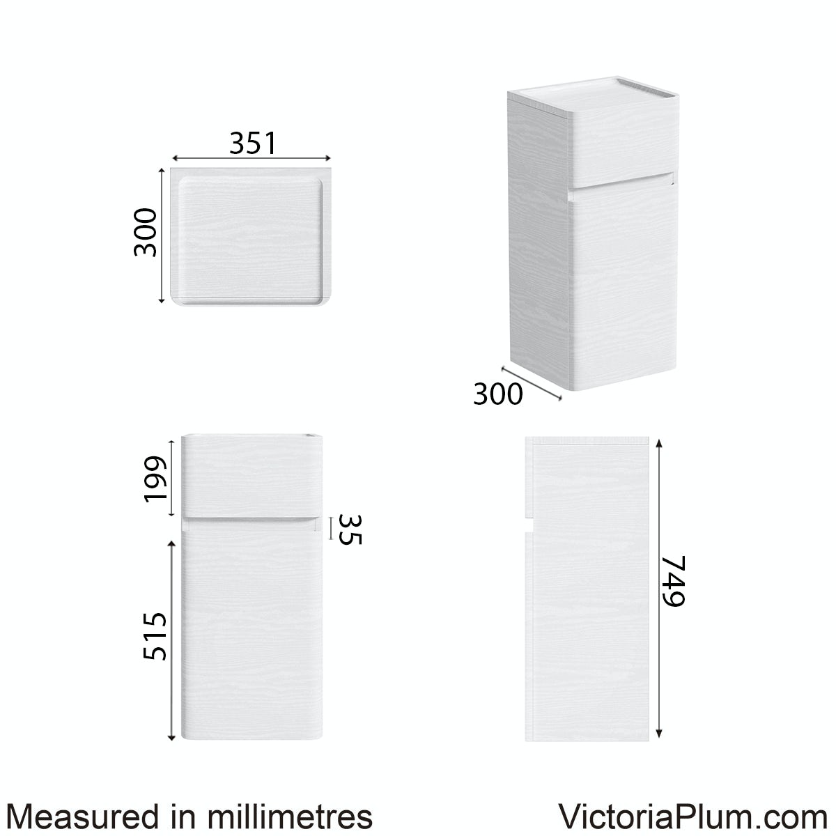 Dimensions for Mode Heath white side cabinet