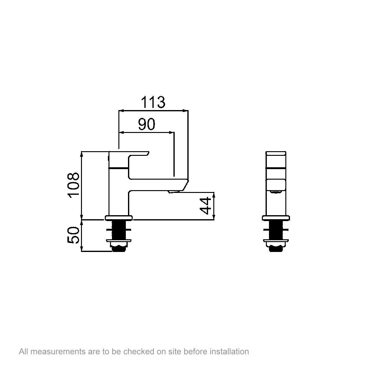 Dimensions for Bristan Cobalt basin taps