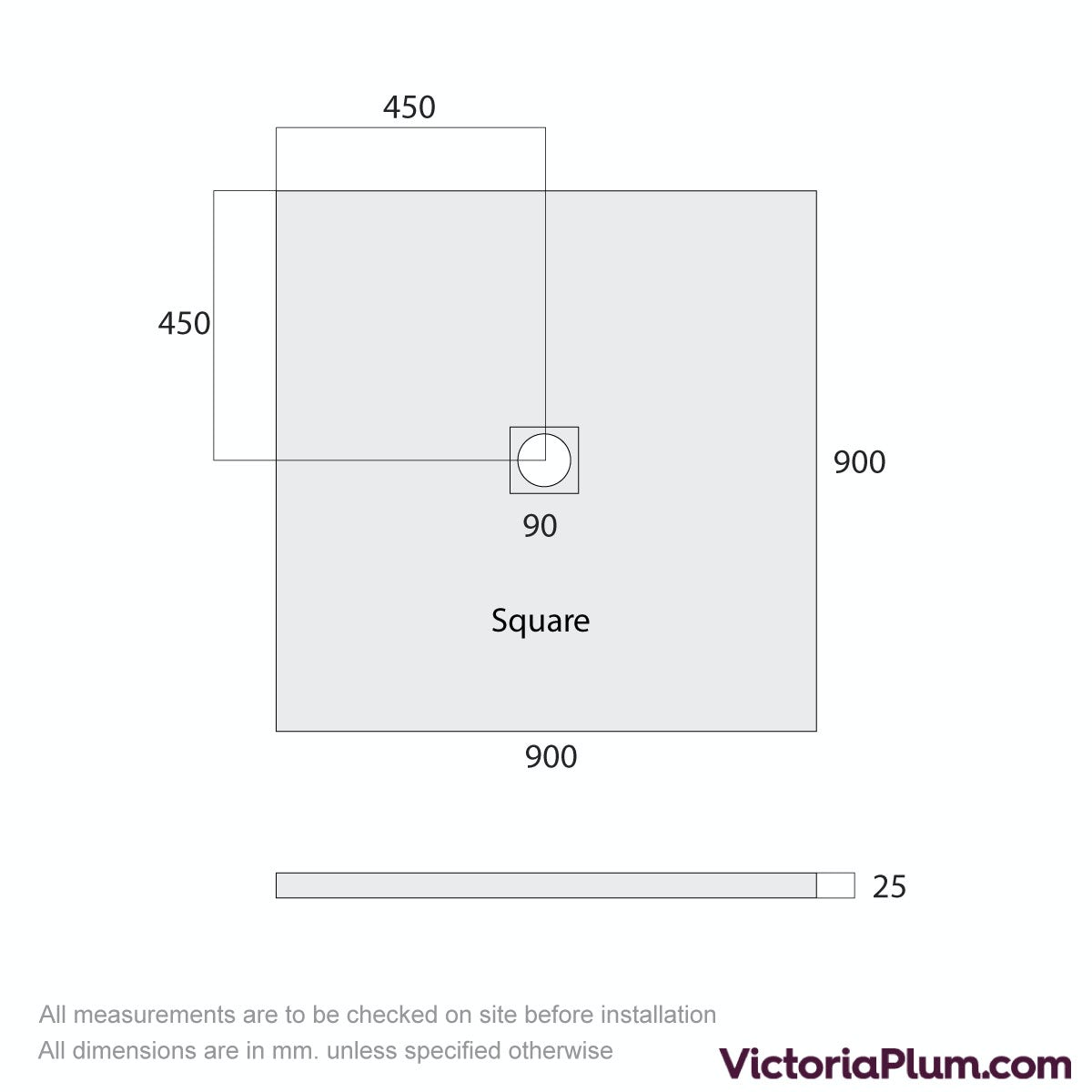 Dimensions for Mode white slate effect square stone shower tray 900 x 900