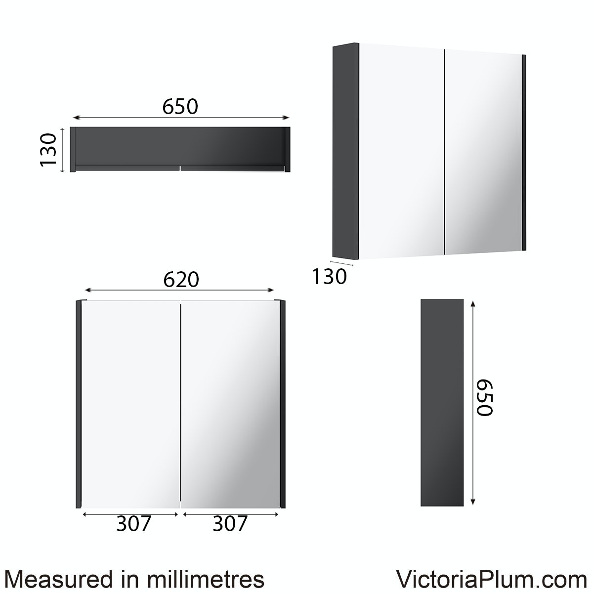 Dimensions for Mode Cooper anthracite mirror cabinet 600mm