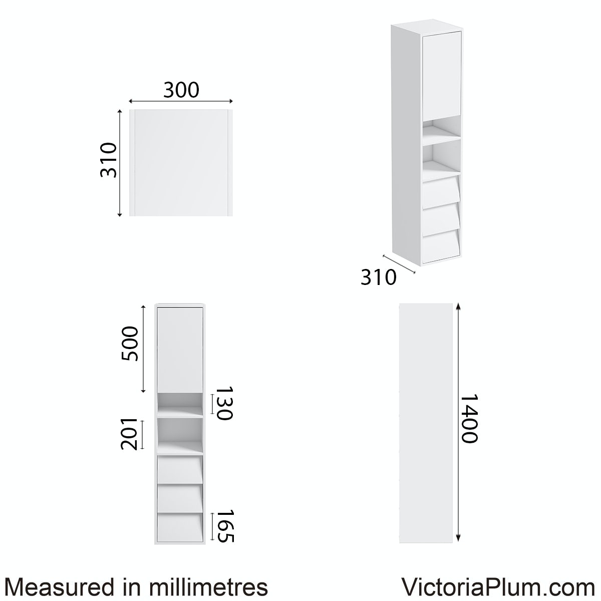 Dimensions for Mode Cooper white side cabinet