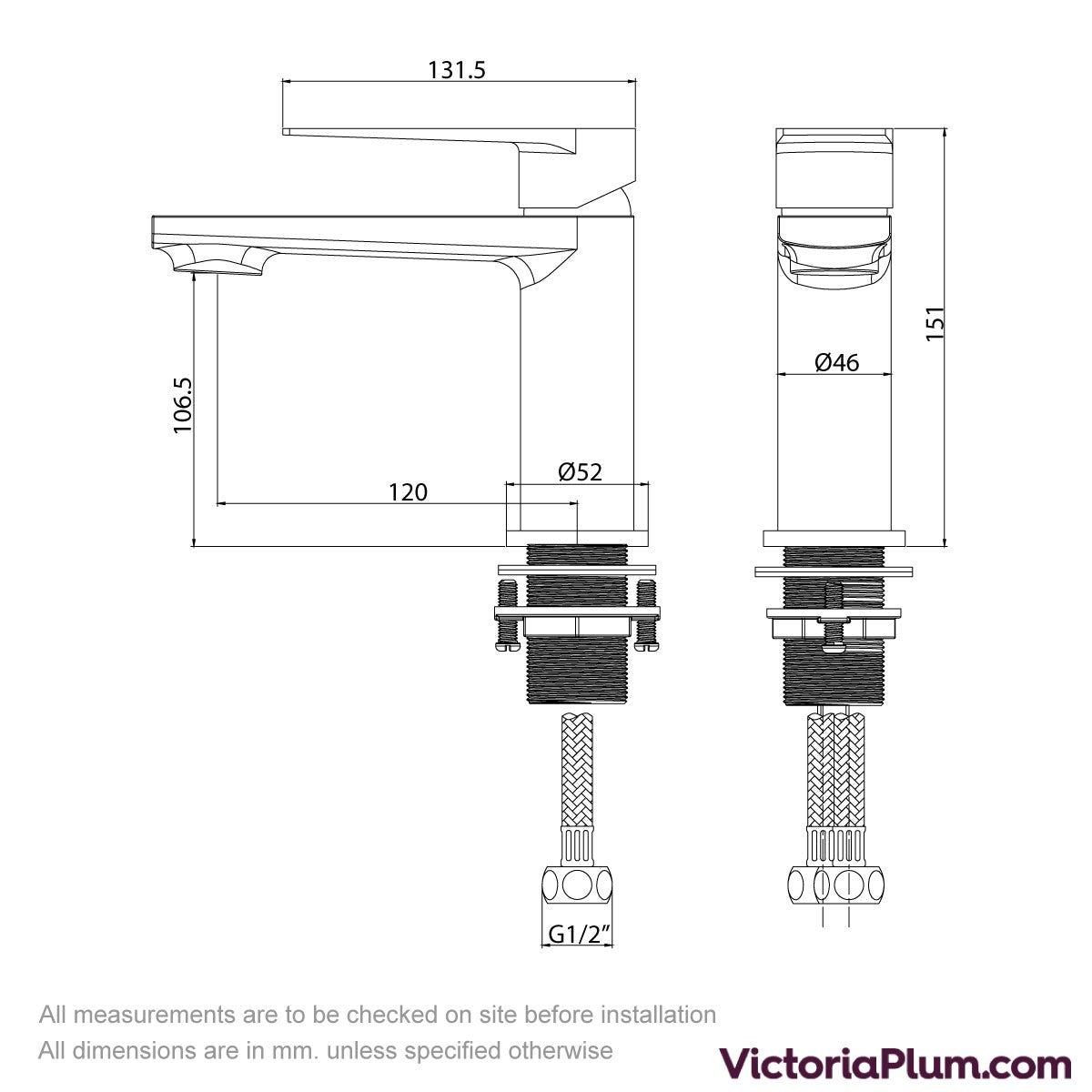 Dimensions for Kirke Combo basin mixer tap with click clack waste