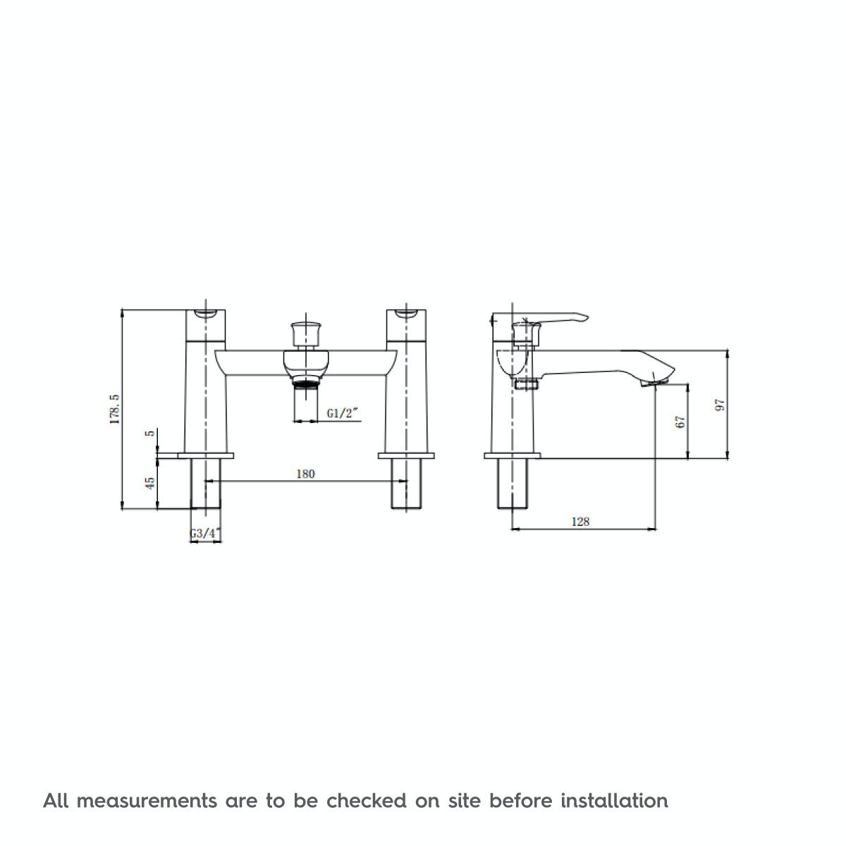 Dimensions for Wave bath shower mixer tap
