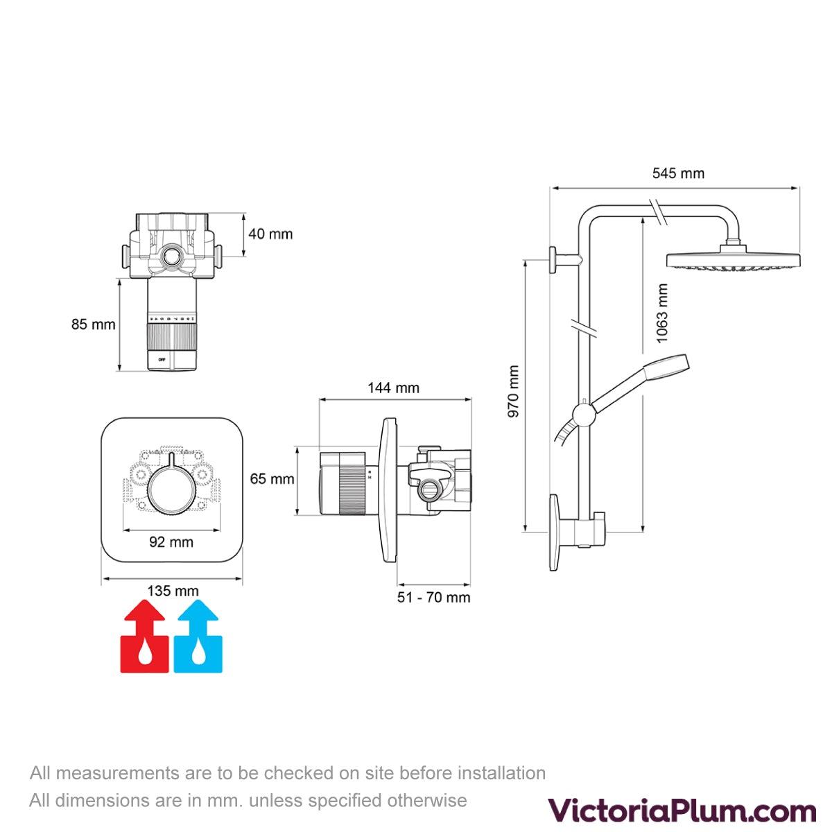 Dimensions for Mira Agile Sense ERD+ thermostatic mixer shower