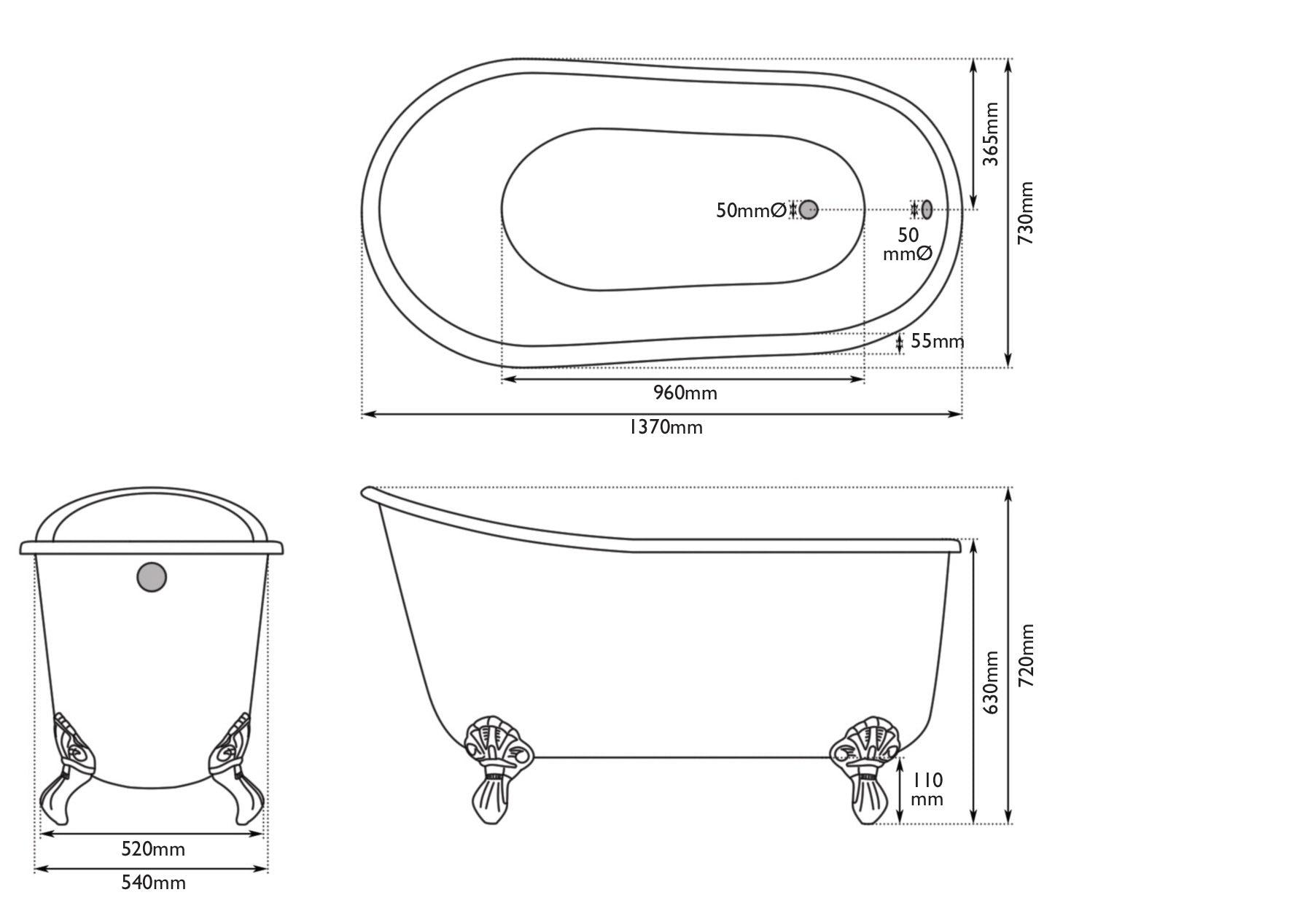 Dimensions for The Bath Co. Berkeley pavilion grey cast iron bath