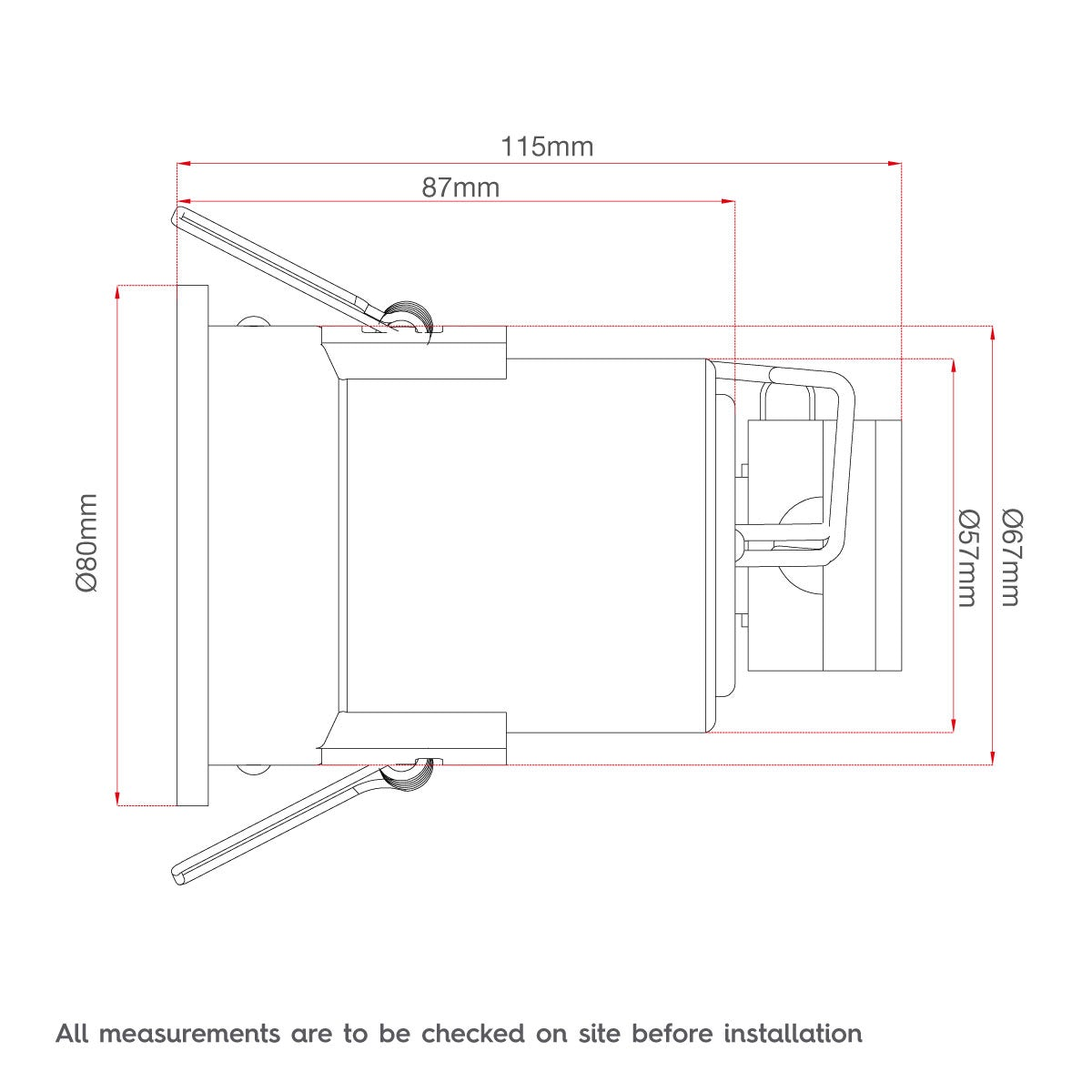 Dimensions for Fixed fire rated bathroom downlight in white