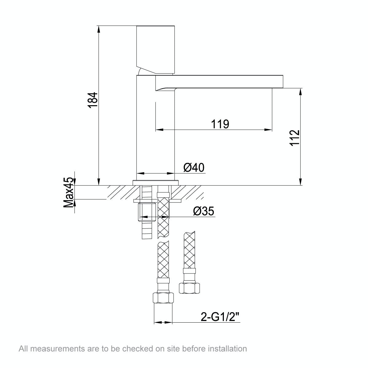 Dimensions for Mode Doshi basin mixer tap
