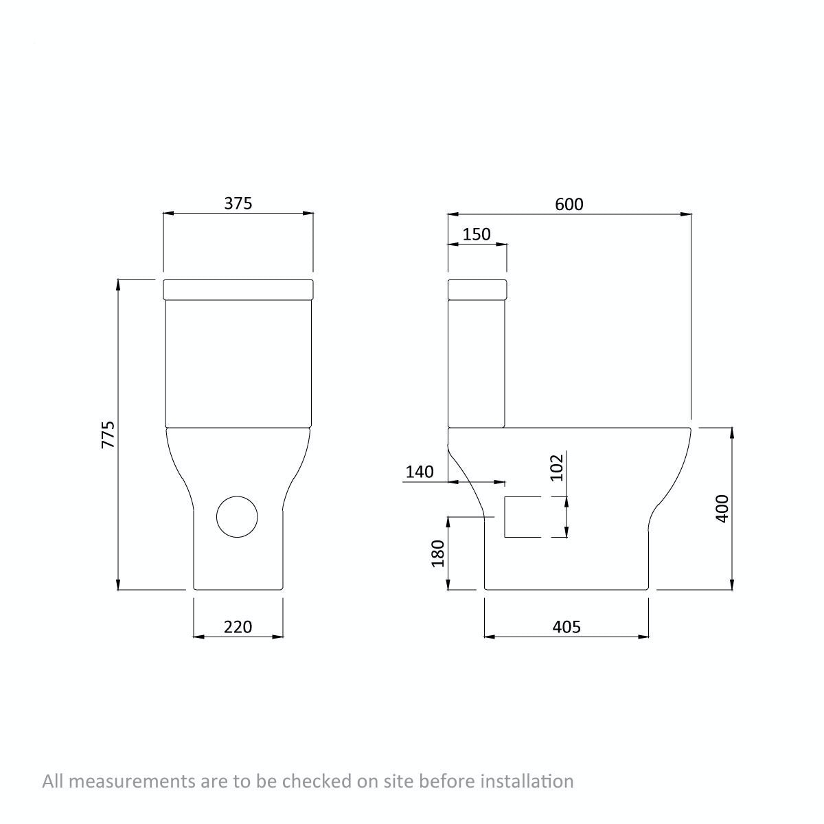 Dimensions for Orchard Derwent round compact close coupled toilet with luxury soft close seat