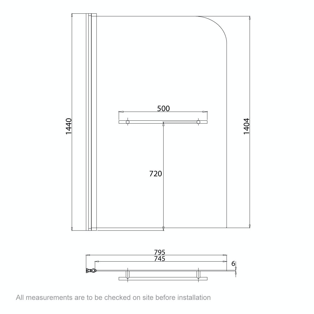 Dimensions for Orchard 6mm straight shower bath screen with rail
