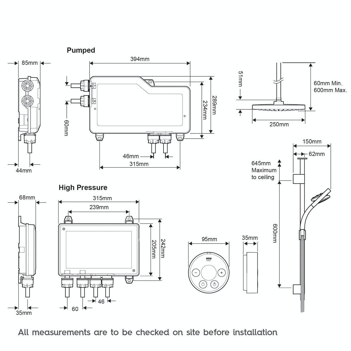 Dimensions for Mira Platinum dual ceiling fed digital shower standard