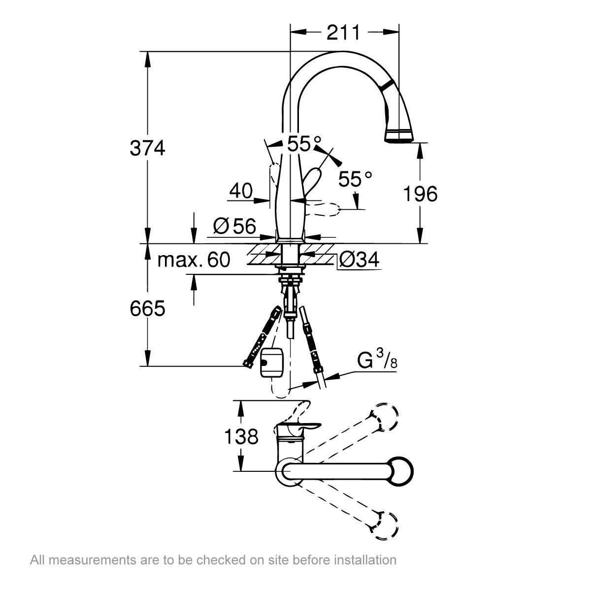 Dimensions for Grohe Parkfield kitchen tap with pull out spout
