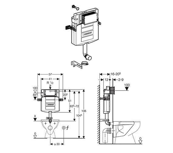 Dimensions for Geberit Sigma concealed cistern UP320