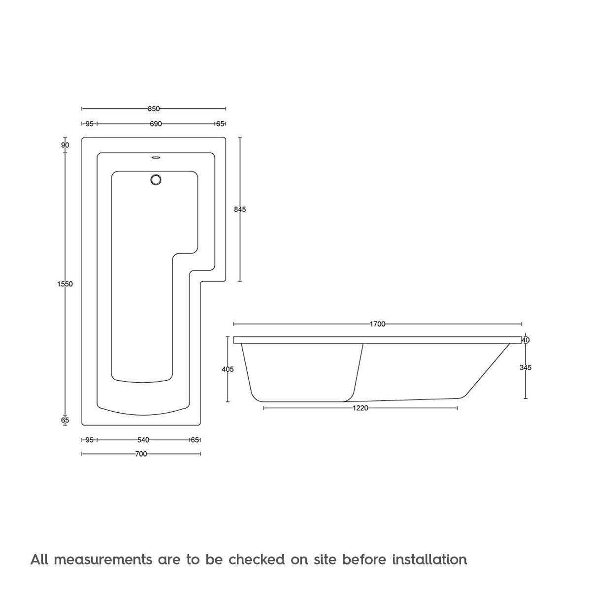 Dimensions for L shaped right handed 12 jet whirlpool shower bath with front panel and screen