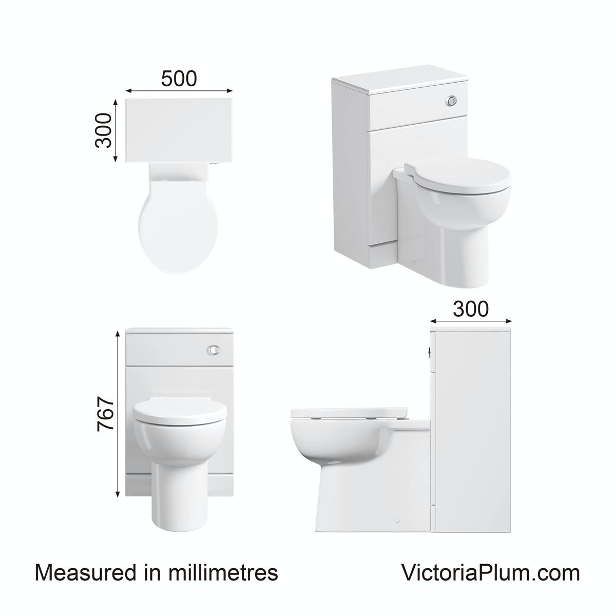 Dimensions for Sienna white slimline back to wall toilet unit