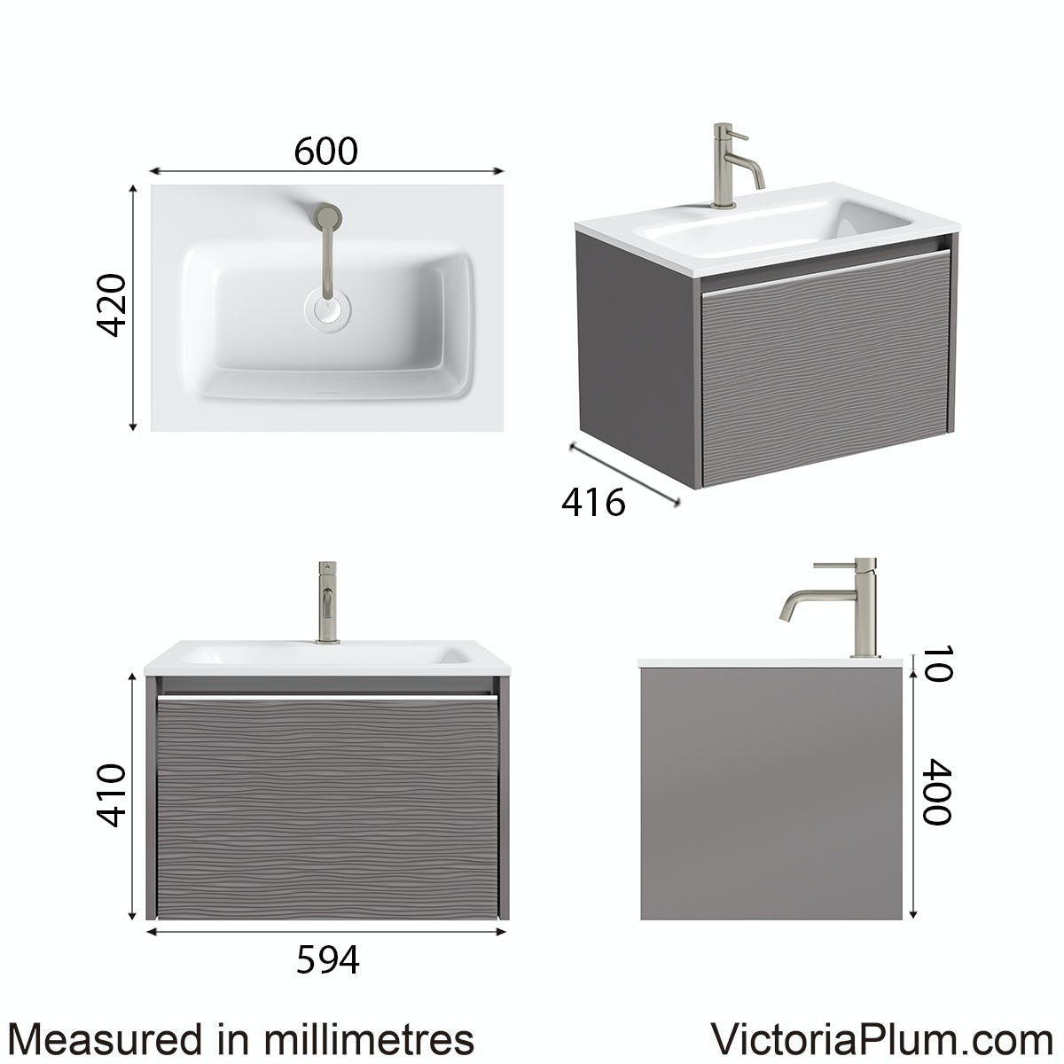 Dimensions for Mode Banks textured lava stone matt wall hung vanity unit and basin 600mm