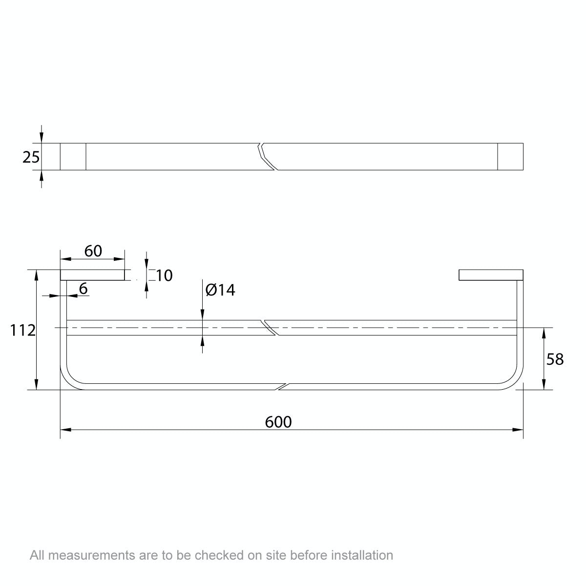 Dimensions for Mode Spencer black double towel rail 600mm