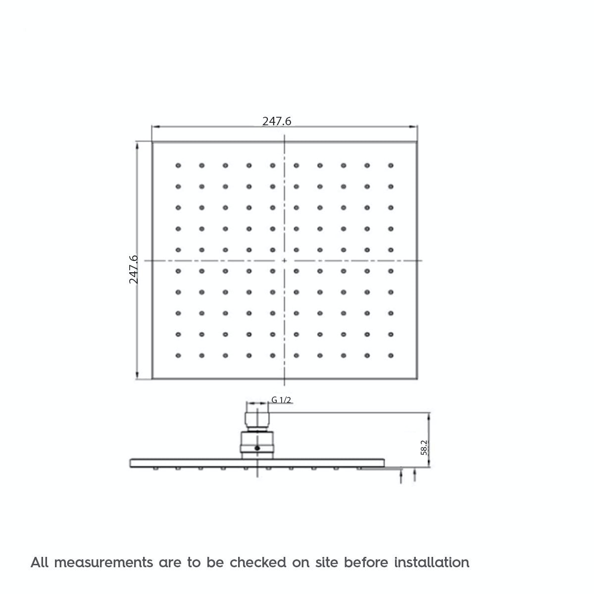 Dimensions for Mode Tetra square shower head 250mm