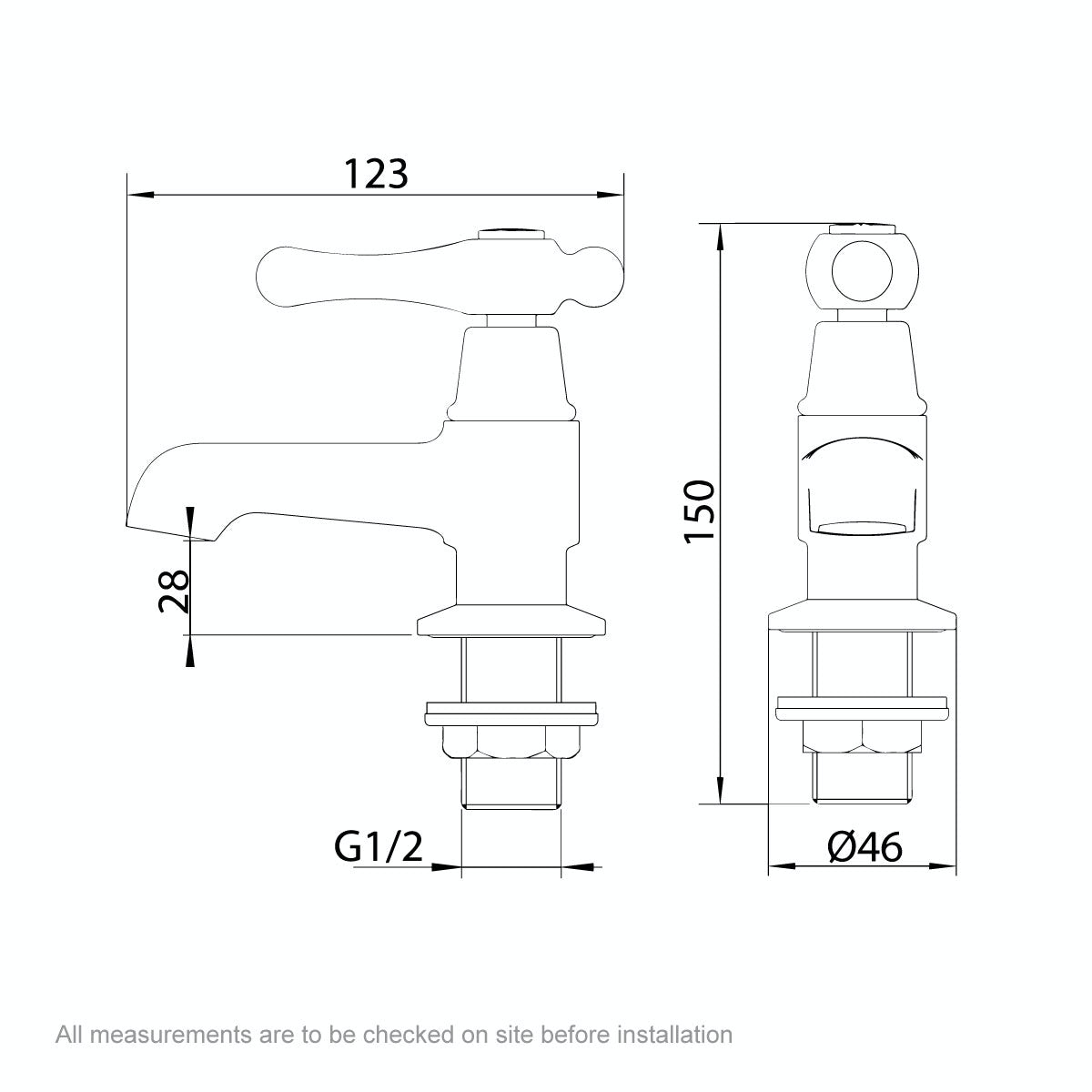 Dimensions for The Bath Co. Camberley lever basin pillar taps