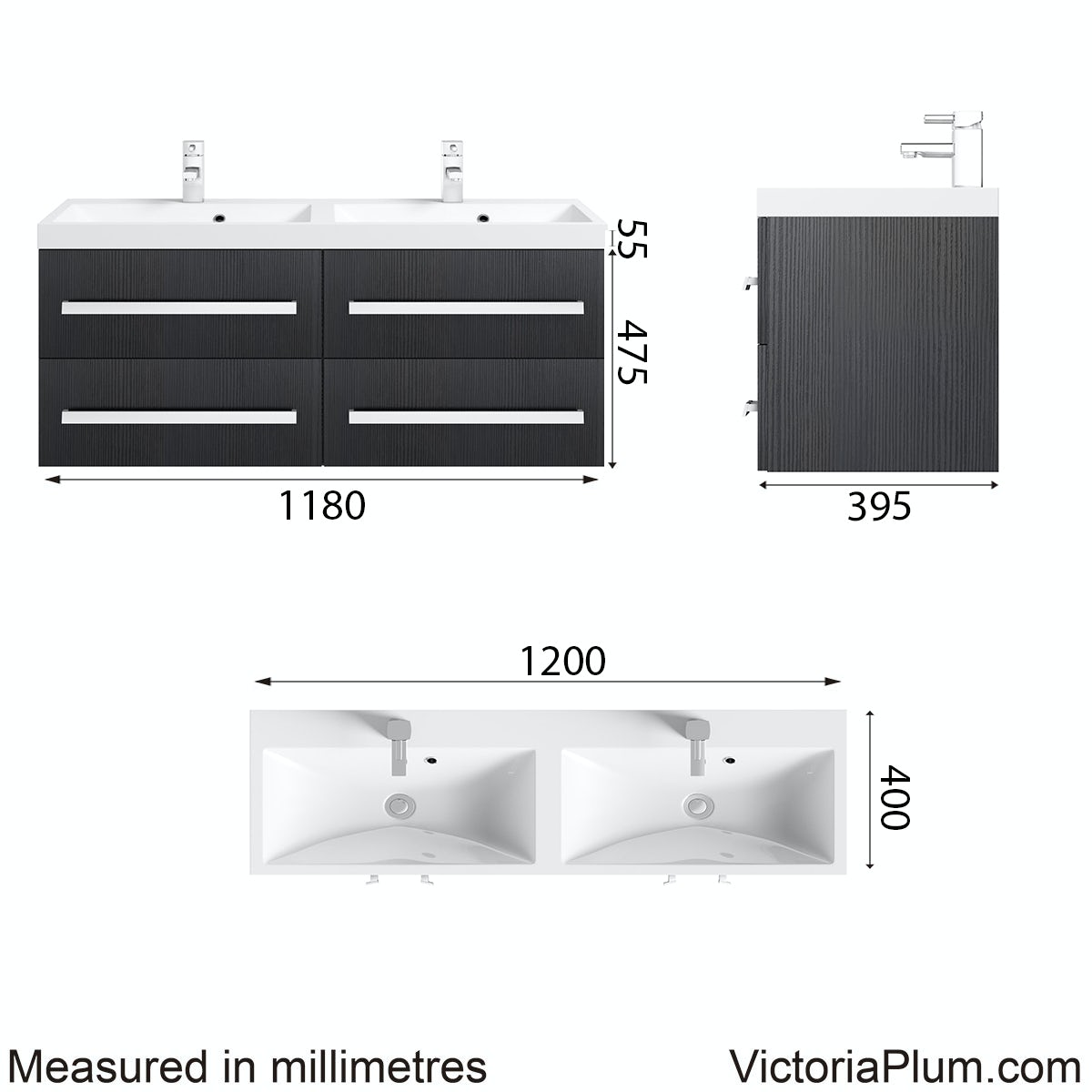 Dimensions for Arden essen wall hung double basin unit 1200mm
